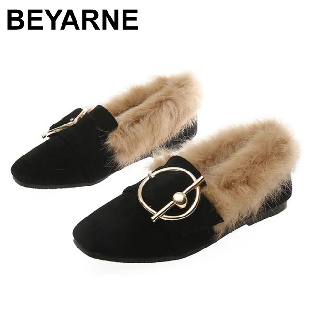 BEYARNE2019 new fashion rabbit fur flat shoes flip plus velvet casual shoes Europe and large womens shoesE1104