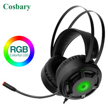 Cosbary Gamer Headset 3.5mm Plug USB Wired Stereo Deep Bass LED Gaming Headphone with Long Microphone for PC Computer Laptop PS4 sades sa 708 wired hi fi gaming headset headphone w microphone white grey red 3 5mm plug