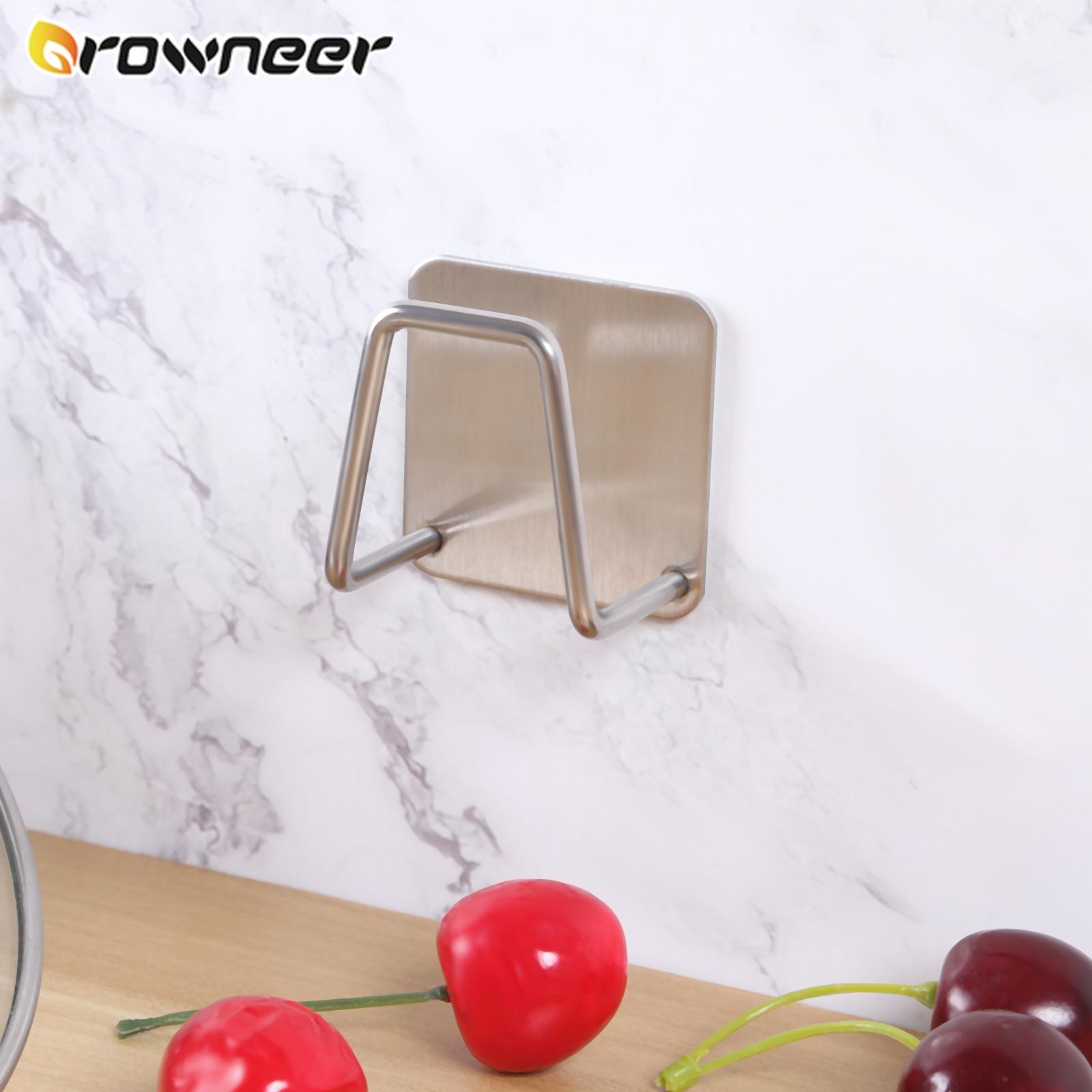 Кухонная стойка для хранения из нержавеющей стали, стеллаж для губки, стеллаж для слива, серебристый настенный держатель для раковины, удоб...