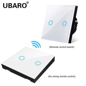 Image 4 - UBARO EU/UK100 240V Wireless Controller Crystal Glass Screen Smart home wall light lamp RF433 Controller Touch switches 2Gang
