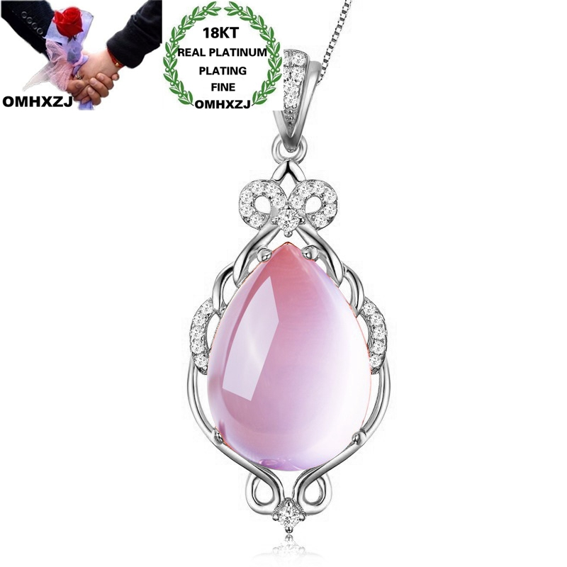 OMHXZJ Wholesale CA483 European Fashion Woman Party Birthday Wedding Gift Water Drop Zircon 18KT Rose White Gold Pendant Charm