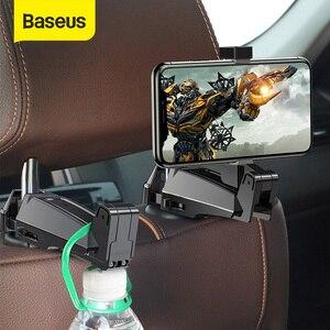 Baseus 2 in1 Car Headrest Hook with Phone Holder Back Seat Hook for Bag Handbag Fastener Backseat Organizer Multifunction Clip
