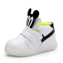 Childrens Shoes Luminous Sneaker For Girl Mickey Autumn Child LED Light Up Boy Baby Tennis
