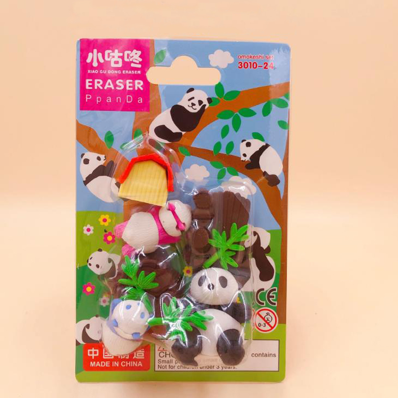 6 Pcs/pack Cartoon Animal Panda Bamboo Branches Erasers Rubber Pencil Erasers Writing Drawing Tools Stationery For Kids Gifts