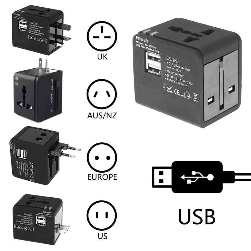 Universal UK US AU EU AC Power Socket Plug Travel Charger Global Multi-functional ปลั๊กอะแดปเตอร์ Dual USB Travel charger converter