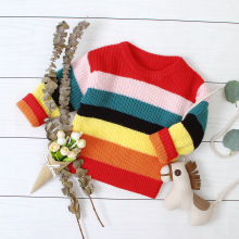 лучшая цена Boys Girls Sweaters Autumn Winter Kids Knitted Sweaters Pullover Casual Kids Tops Baby Girl Winter Clothes Boys Sweater rainbow