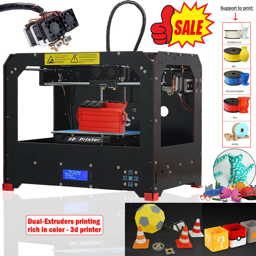 CTC 3D Printer Dual Extruder + Dual nozzle Two Color Printing 3d Printer / send 0.3KG Abs or Pla Spools for free US Stock image