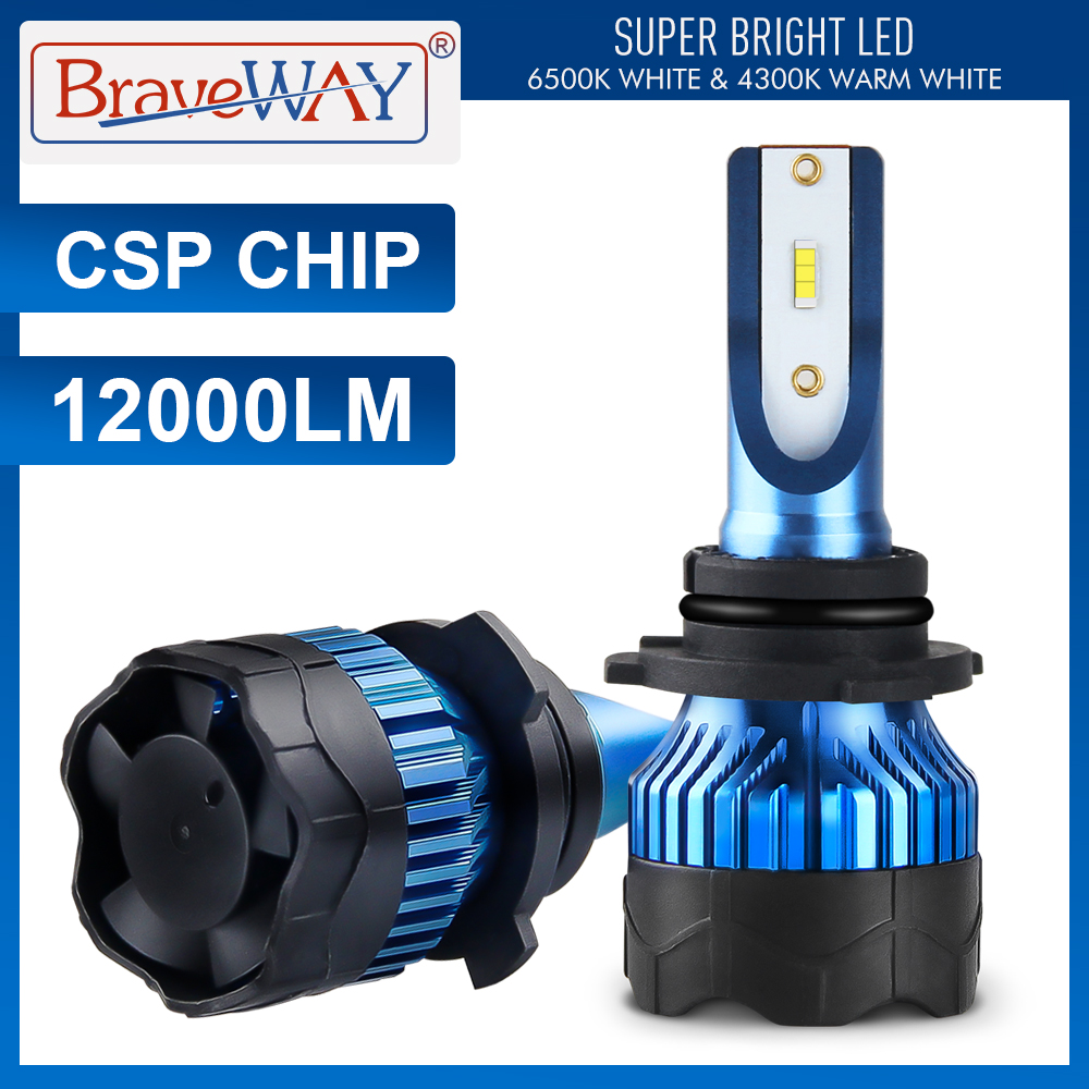 BraveWay CSP Chip Turbo LED Light Bulbs For Cars H8 H9 H11 LED H4 HB4 HB3 H7 Lamps 12V H4 LED Headlight H1 LED Lamps 4300K 6500K