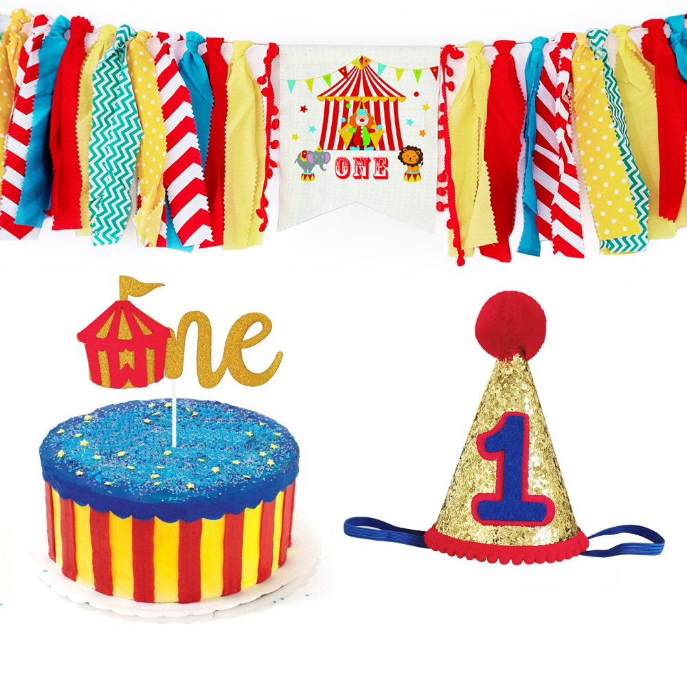 Circus Party Decoration Set Carnival Thme Baby Dining Chair Tassel Banner Cake Topper 1St Birthday Hat for Kids First Birthday