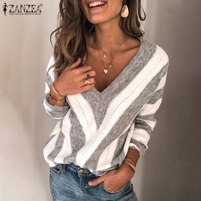 Autumn Long Sleeve Jumper ZANZEA Fashion Striped Knitted Pullover Women Blouse Sexy V Neck Thin Sweater Femme Knitwear Pull Tops