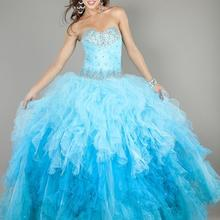 free shipping 2020 beading crystal Brand New Blue Prom Ball Gown Formal Party Evening Quinceanera