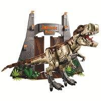 Nuovo dinosauro Jurassic Park World Tyrannosaurus Rex T. Rex Building Block mattoni giocattolo per bambini regali di natale