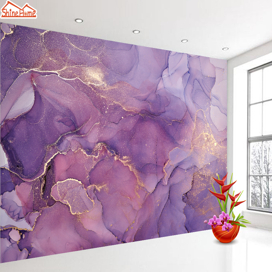 Custom Purple Watercolor 3d Abstract Painting Wall Background Wallpaper Murals for Living Room Self Adhesive Walls Paper Decor