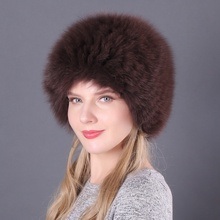 Women Real Fox Fur Hats Winter Elastic Luxury Fur Caps Knitted Lined Genuine Raccoon Fox Fur Beanies Russian Bomber Hats new unisex hot winter women girl children adult real fox fur genuine leather raccoon bomber ear warm character bomber hats caps