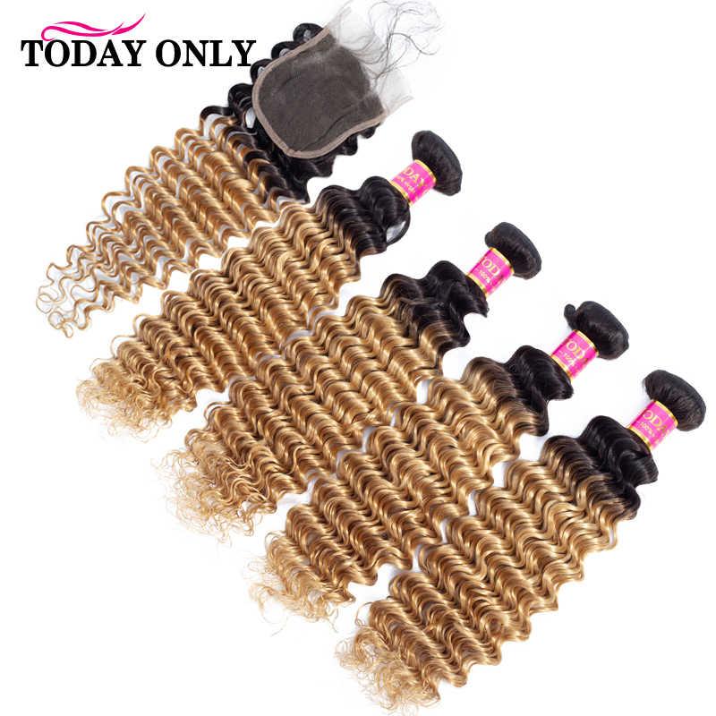 Hari Ini Hanya Brasil Gelombang Dalam Bundel dengan Penutupan Rambut Pirang 4 Bundel dengan Penutupan Menenun Rambut Remy Bundel dengan Renda Penutupan