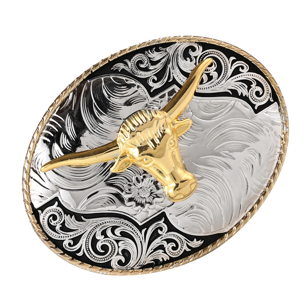 Men Classic Bull OX Head Belt Buckle Western Cowboy Jeans Belt Accessories Gold Cool Luxurious Buckle Belt Repair Accessory