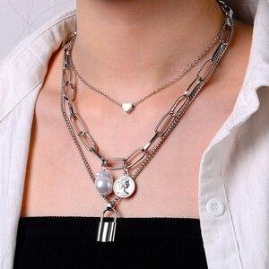 Bohemian Gold Perle Porträt Münze Anhänger Halskette frauen Retro Herz Schloss Kragen Choker Halskette Mode Dicke Kette Halskette