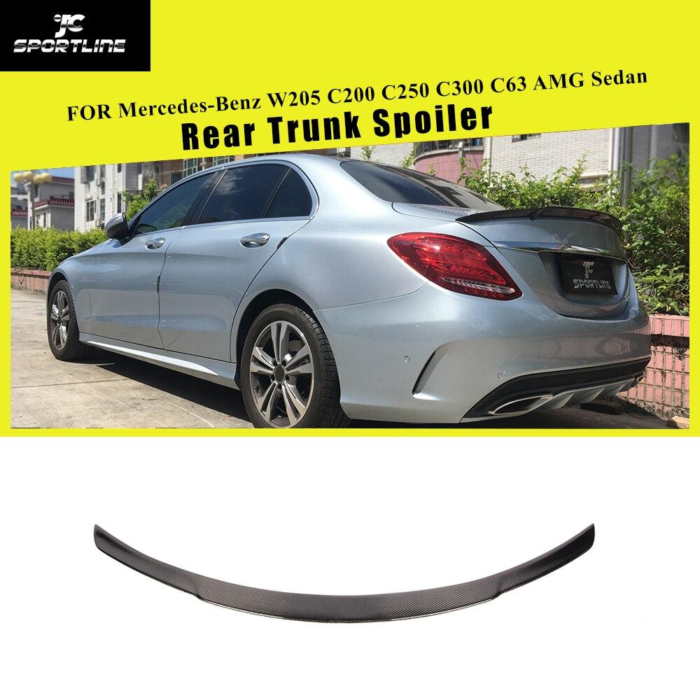 For Mercedes-Benz W205 C200 C250 C300 C350 C63 AMG Sedan 4 Door 2014 - 2019 Carbon Fiber Rear Trunk Spoiler Boot Lip Wing Lip