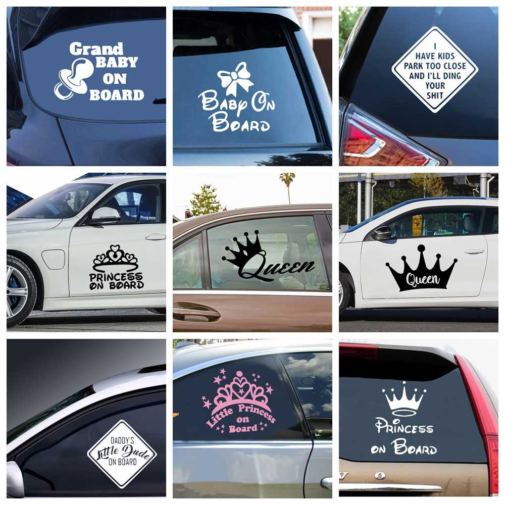 Hot Crown Frase Car Stickers Fashion Cartoon Auto Sticker For Window Decor Baby Personality Colorful Vinyl Decals