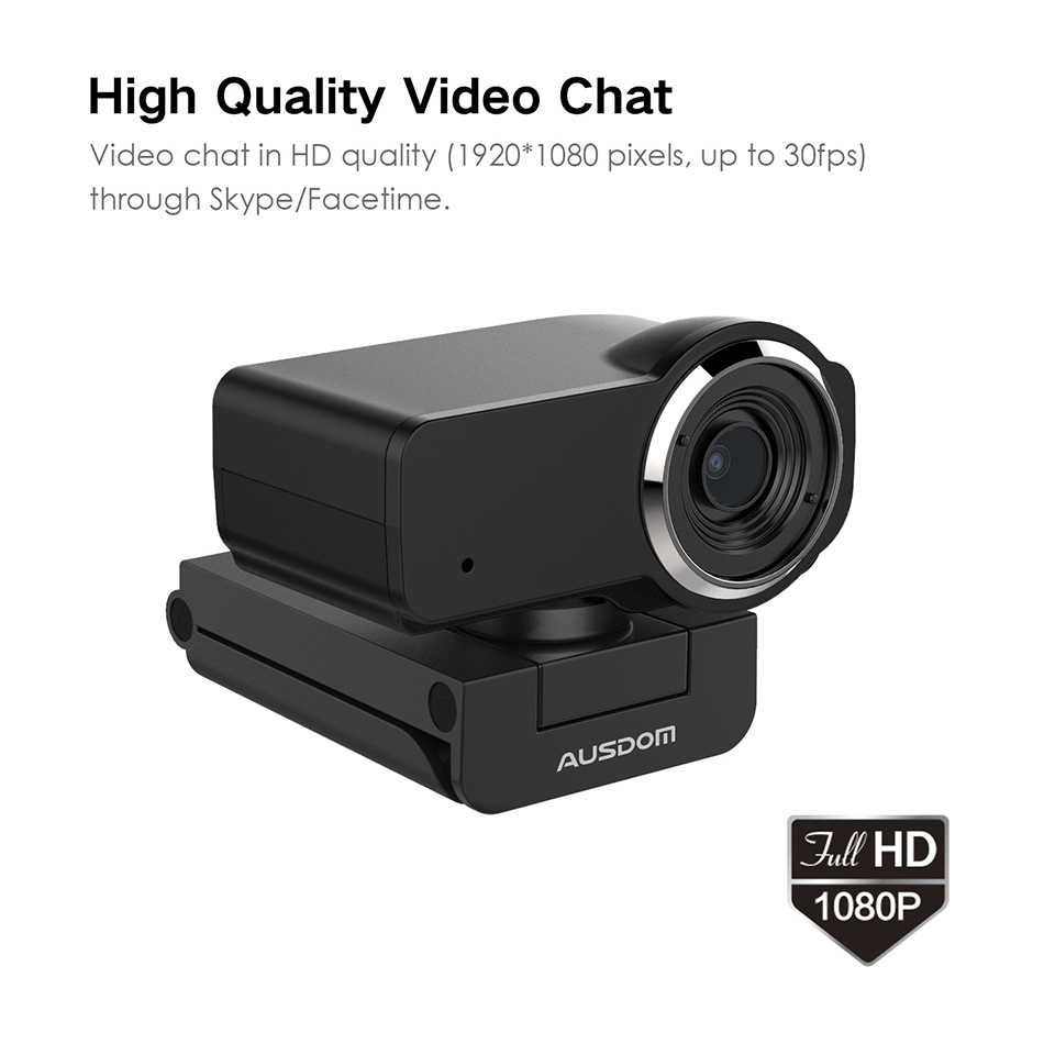 Веб-камера AUSDOM AW635 HD 1080P с микрофоном с шумоподавлением для ПК, веб-камера для компьютера OBS Skype YouTube