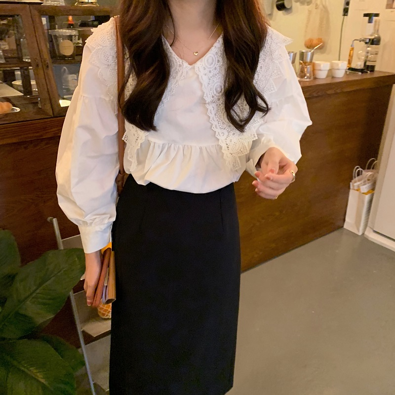 H781bc412b76f424f97df078d6ab93fedj - Spring / Autumn Butterfly Lace Collar Long Sleeves Solid Blouse