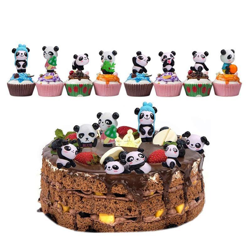 Cool 12Pcs Panda Cake Topper Decor Resin Crafts Cake Ornaments Kids Funny Birthday Cards Online Alyptdamsfinfo