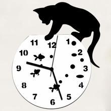 Nowy kwalifikowany niegrzeczny kot zegar akrylowy zegar ścienny nowoczesne designerskie dekoracje do domu zegarek naklejka ścienna Dropship D23Au23 tanie tanio Krótkie Geometryczne Z tworzywa sztucznego 31cm 31mm 450g Cyfrowy Zegary ścienne 9mm blachy cartoon Antique style Salon