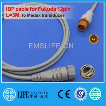 Fukuda 12pin IBP cable for Medex disposable pressure transducer image