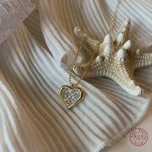 925 Sterling Silver 14K Gold Pavé Crystal przecięcie łańcuszek z wisiorek długość do linii obojczyków naszyjnik kobiety proste akcesoria jubilerskie