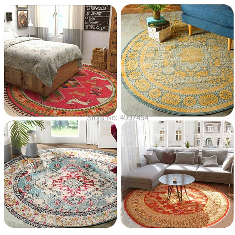 Round Carpet Palace Floor Chair Mat Vintage Room Rug Bohemian Persian Ethnic Colorful Home Decoration Turkish Flower Blanket