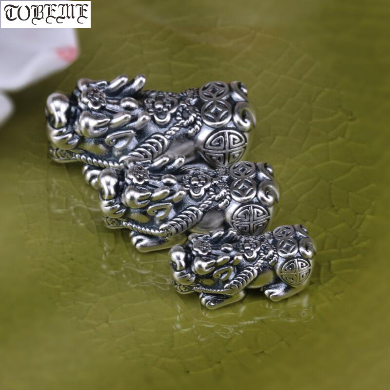 NEW! 100% 3D 999 Silver Pixiu Beads Vintage Silver Fengshui Piyao Beads Good Luck Jewelry Beads Lucky Wealth Pixiu Beads