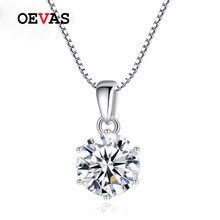 OEVAS 1 quilate Real anillo colgante de collar para las mujeres de calidad superior 100% de Plata de Ley 925 boda fiesta nupcial joyería fina