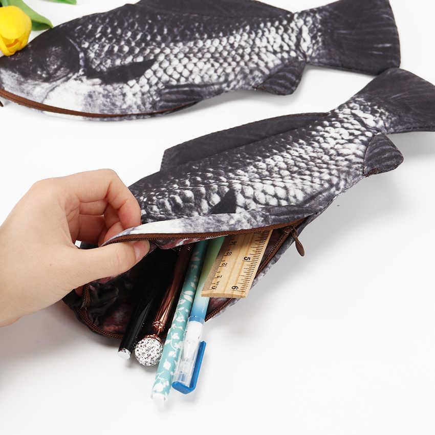 الكارب الأسماك على شكل حافظة أقلام رصاص بسحّاب (سوستة) حقيبة حامل كيس التخزين القلم مقلمة القرطاسية اللوازم المدرسية مضحك هدية 1 قطعة