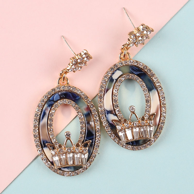 2019 New Hollow out retro crystal Crown Pendant ear nail High Quality Rock Style Exaggerated Jewelry Earrring exquisite Handmade