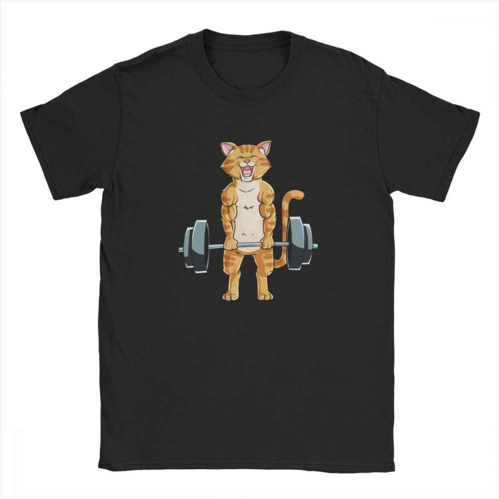 แมวDeadlift Powerliftingฟิตเนสยกน้ำหนักเสื้อยืดผู้ชายผ้าฝ้ายเสื้อTeeเสื้อยุโรปSweatshirt