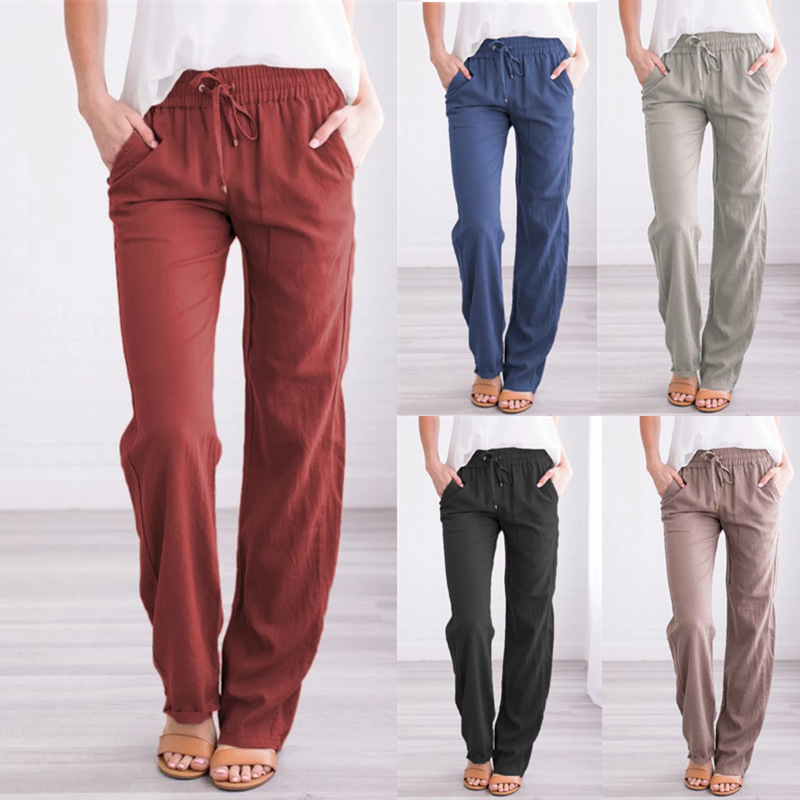Summer Women's Cotton Linen Drawstring Loose Wide-Leg Pants Hot Sale Long Trousers With Pocket