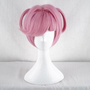 Image 2 - Doki Doki Literature Club Natsuki różowy krótki kostium kobiety żaroodporne syntetyczne włosy Party Cosplay peruki + darmowa peruka Cap