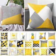 45cm High Quality Yellow Cushion Cover Pineapple Leaves Sofa Pillowcase Plush Cushion Cover for Home Decor Pillow Cushion Case