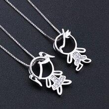 Newranos 925 Sterling Silver Pendant Necklace Zirconias Girl Boy Charm Pendant Family Necklace Fashion Women Jewelry NFL001684