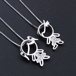 Image 1 - Newranos 925 Sterling Silver Pendant Necklace Zirconias Girl Boy Charm Pendant Family Necklace Fashion Women Jewelry NFL001684