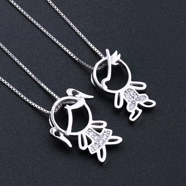 Newranos 925 Sterling Silver Pendant Necklace Zirconias Girl Boy Charm Pendant Family Necklace Fashion Women Jewelry NFL001684