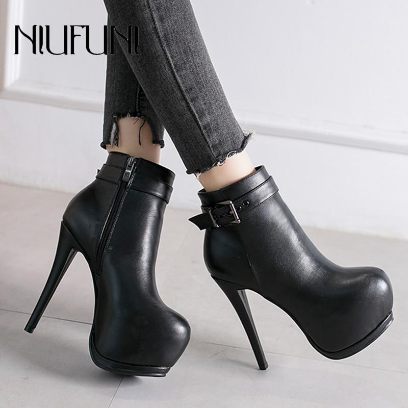 NIUFUNI Black PU Leather Women's Ankle Boots Stiletto Buckle High Heels Zipper Martin Boots Women's Shoes Waterproof Platform