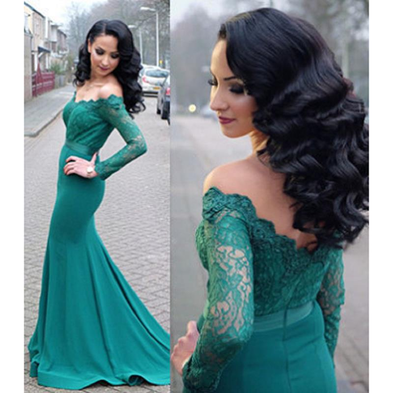 Abendkleider Lang Teal Green Mermaid Evening Dresses Long Sleeve 2019 Applique Lace Prom Dress Formal Women Party Gowns