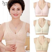 Underwear Bralette Comfortable Front-Close Cotton Soft Plus-Size Women No Ring-Printing