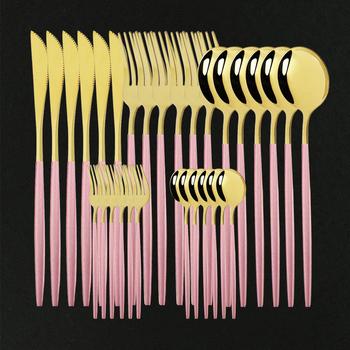 6 30Pc zestaw obiadowy ze stali nierdzewnej stalowe sztućce zestaw kuchnia lustro różowe złoto kompletny nóż do naczyń widelec łyżka stół do jadalni tanie i dobre opinie uniturcky CN (pochodzenie) Zachodnia Metal Pigmentowane Stałe CE UE Lfgb Ekologiczne Na stanie Stainless steel Łyżka widelec zestaw noży