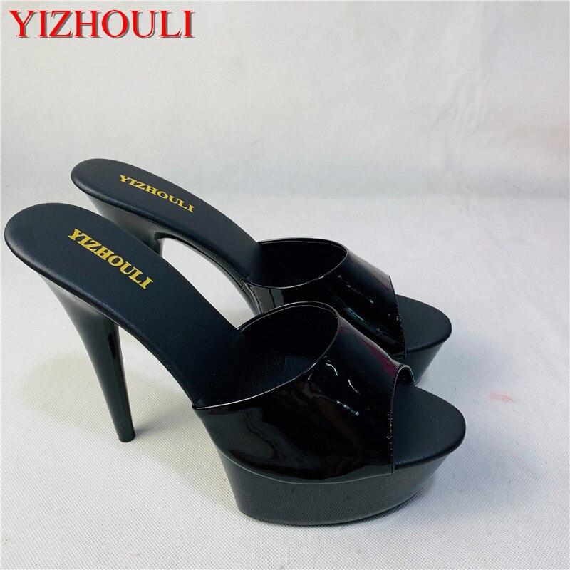 Sexy Women Strippers 15cm High-Heeled Sandals Fashion Shoes Black Patent 6 Inch High Heel Platform Stiletto Sandals