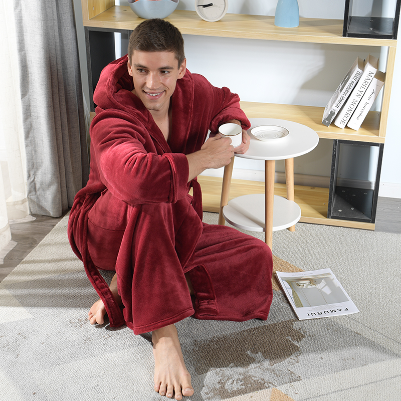 2020 New Male Winter Robes Plus Large Size Loose Hooded Flannel Bathrbobes Men Extra Long To Ankle Home Wear Warm Dressing Gown