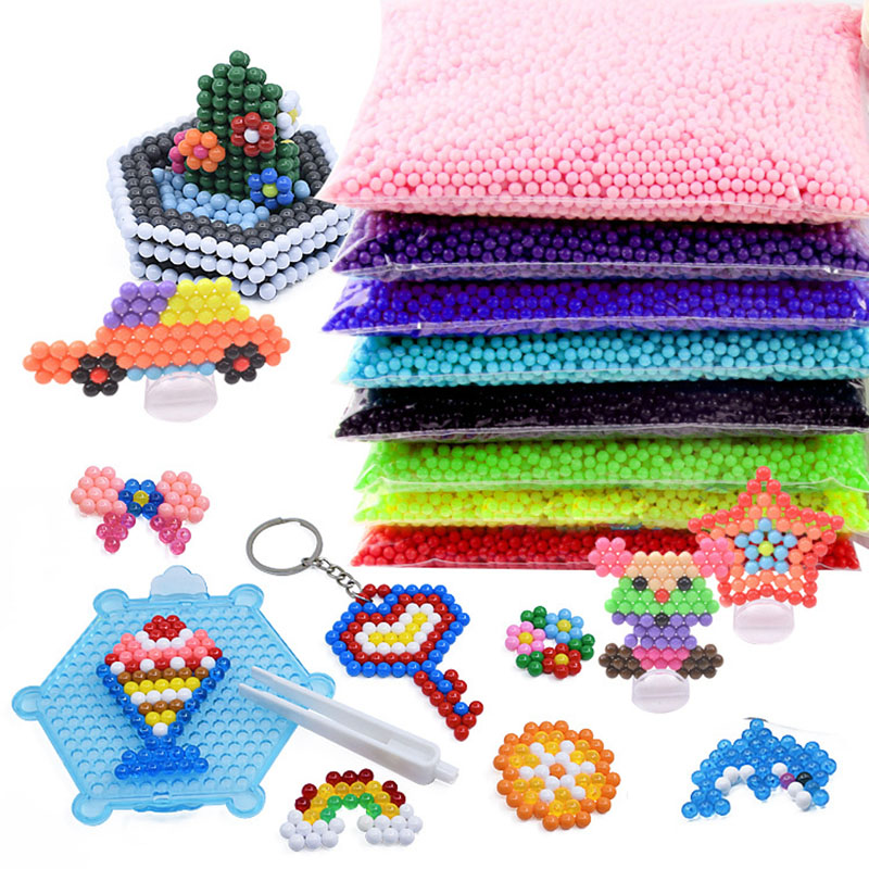 6000pcs 36 Colors Beads Puzzle Crystal Color DIY Beads Water Spray Set Ball Games 3D Handmade Magic Toys For Children