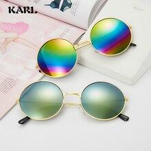 Retro Round Sunglasses Women Color Men Brand Designer Blue Membrane Reflective Mirror Gafas Wholesale