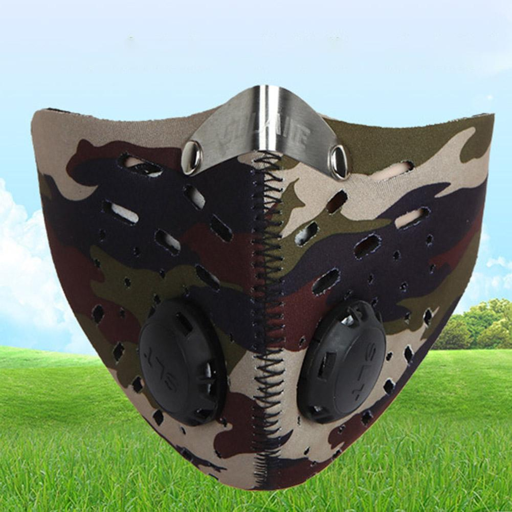 Unisex Camouflage Breathable Anti Haze Activated Carbon Riding Valve Face Mask Wind And Dust Resistant Virus